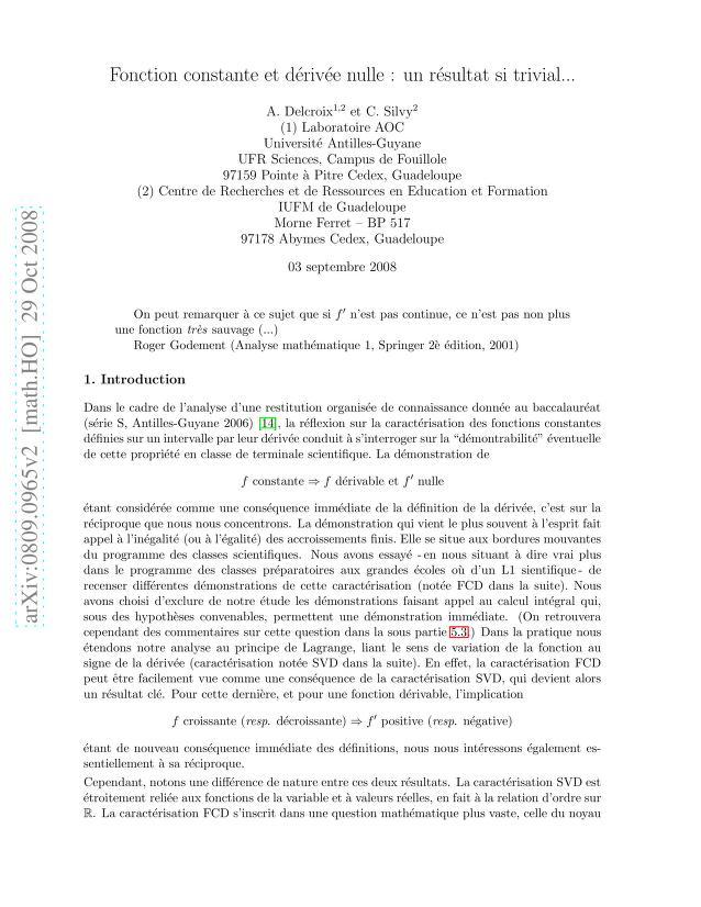 Antoine Delcroix - Fonction constante et dérivée nulle : un résultat si trivial..