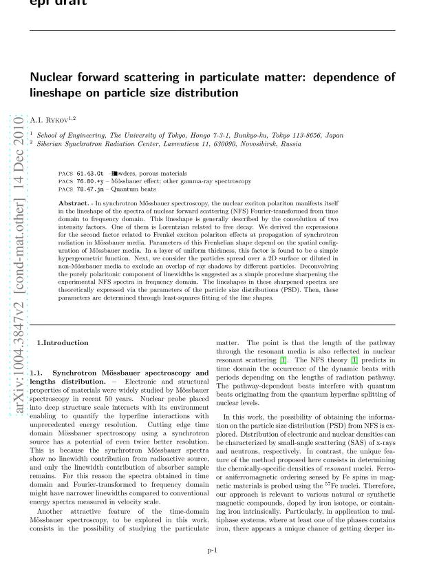 A. I. Rykov - Nuclear forward scattering in particulate matter: dependence of lineshape on particle size distribution