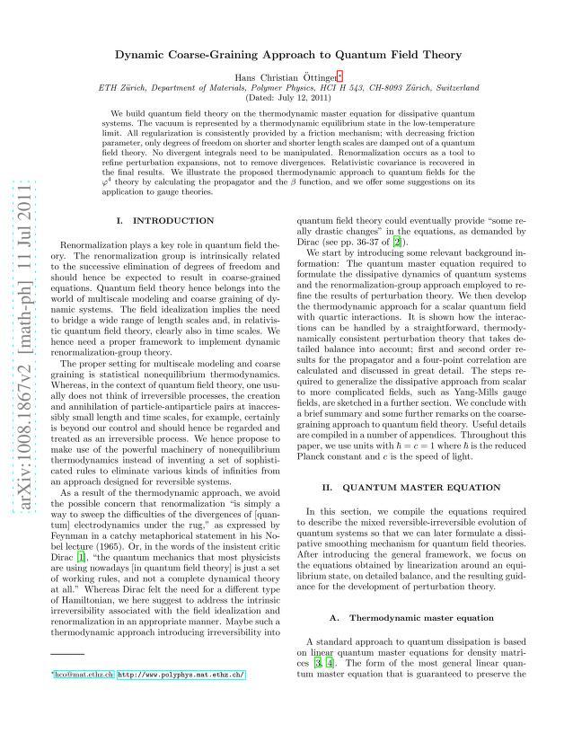 Hans Christian Öttinger - Dynamic coarse-graining approach to quantum field theory