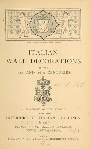 Download Italian wall decorations of the 15th and 16th centuries.