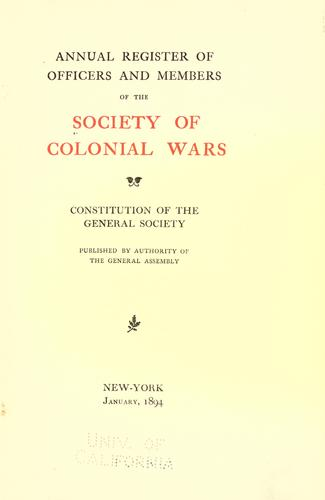 Download Annual register of officers and members of the Society of colonial wars