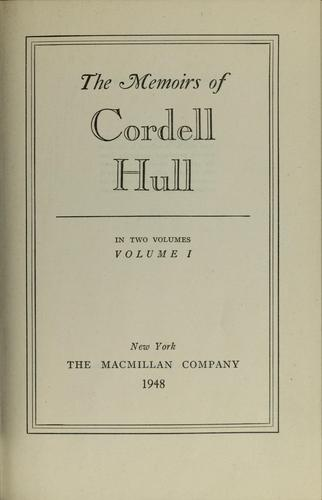 Download The Memoirs of Cordell Hull, Volume 1
