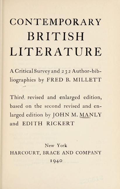Contemporary British literature by Fred Benjamin Millett
