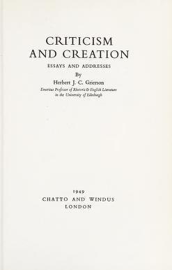 Cover of: Criticism and creation | Grierson, Herbert John Clifford Sir