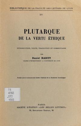 Cover of: De La vertu éthique | Plutarch