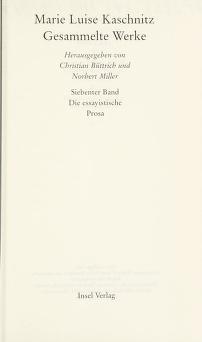 Cover of: Gesammelte Werke | Marie Luise Kaschnitz