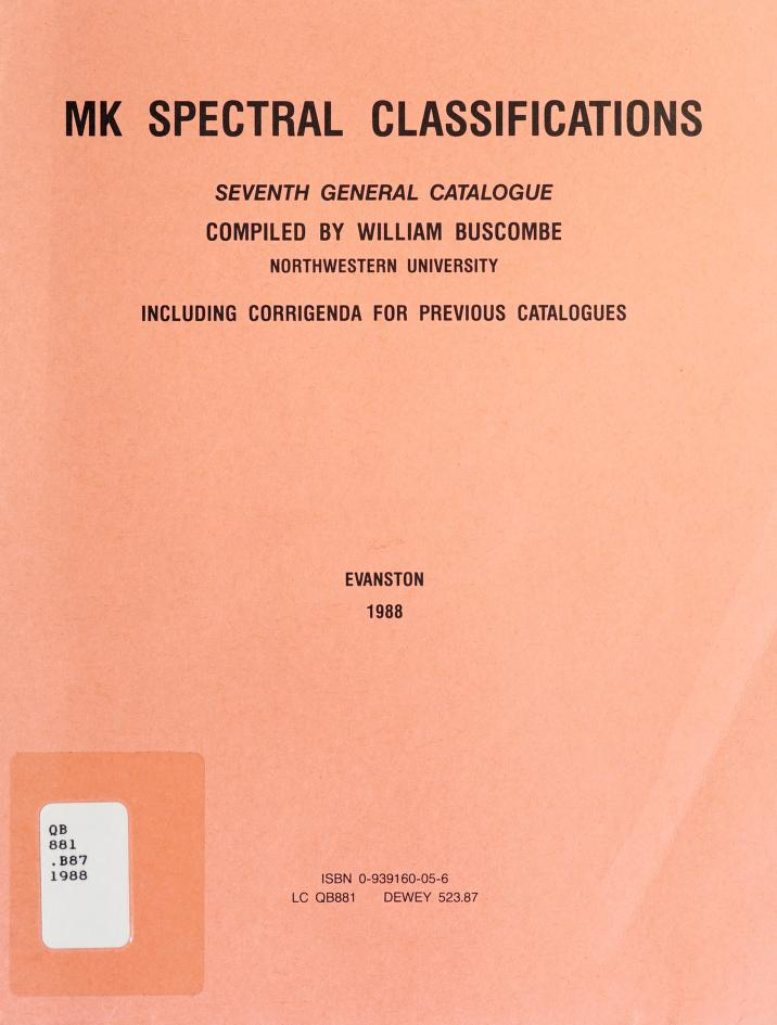 Mk Spectral Classifications (6th General Catalogue) by William Buscombe