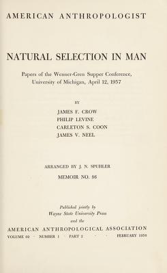 Cover of: Natural selection in man | James F. Crow, J. N. Spuhler