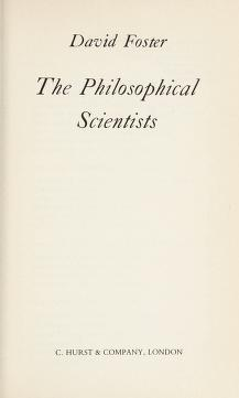 Cover of: The philosophical scientists | David Blythe Foster
