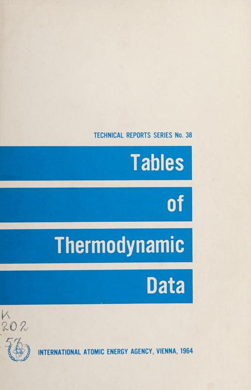 Tables of thermodynamic data by International Atomic Energy Agency
