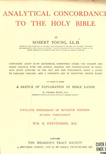 Analytical concordance to the Holy Bible by Young, Robert